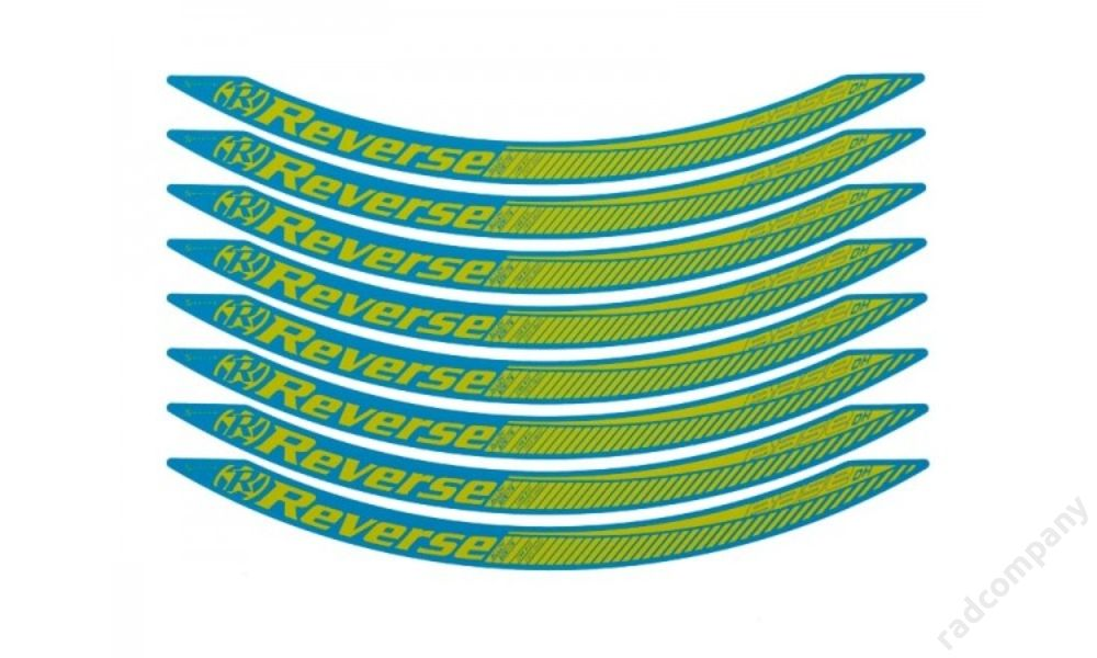 Reverse stickerkit, light-blue/yellow for Base DH 650B rim